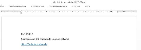 Hemos escribido los comentarios y pegado el LINK en el nuevo documento WORD